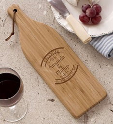 Engraved Established In Wine Bottle Cutting Board