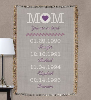 Personalized Mom Throw Blanket