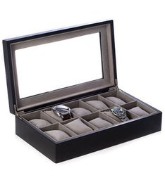 Matte Black Wood 10 Watch Box with Glass Top and Velour Lined