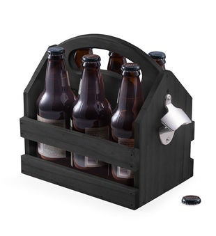 Solid wood beer & beverage caddy