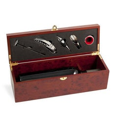 Bottle Holder w 5 Piece Bar Set in Rosewood Finished Box TP