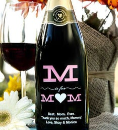 M is for Mom Personalized Wine Bottle