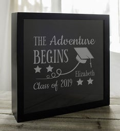 Engraved Adventure Begins Shadow Box