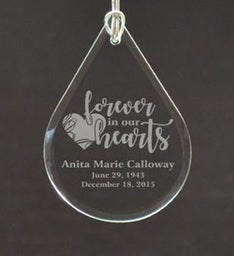 Custom Forever in our Hearts Tear Drop Ornament