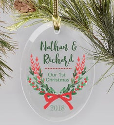 Personalized Couples 1st Christmas Glass Ornament