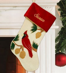 Personalized Cardinal Stocking
