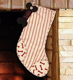 Personalized Striped Dog Bone Stocking