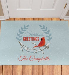 Personalized Seasons Greetings Cardinal Doormat