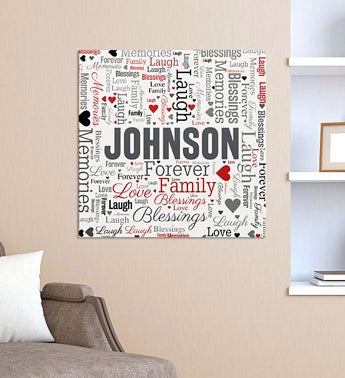 Personalized Family Word-Art Square Canvas