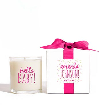 Personalized Hello Baby Girl! Candle