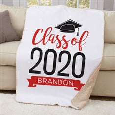 Personalized Graduate Hat Sherpa Blanket