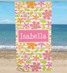 Personalized Floral Pattern Beach Towel