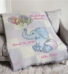 Baby Girl Personalized Elephant Throw Blanket
