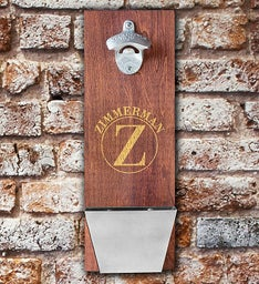 Personalized Wood Cap Catching Bottle Opener