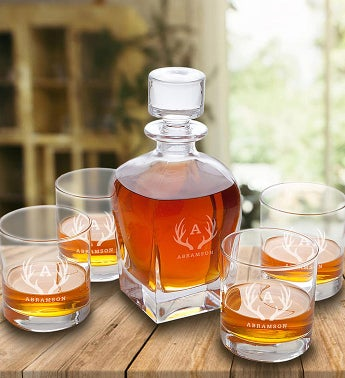 Personalized Antique Whiskey Decanter 4 Glass Set