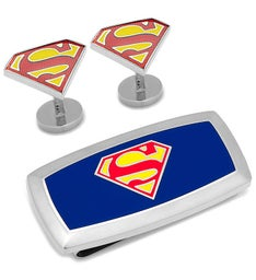 Superman Cufflinks and Cushion Money Clip Gift Set