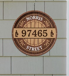 Personalized Wine Barrel Address Wall Sign