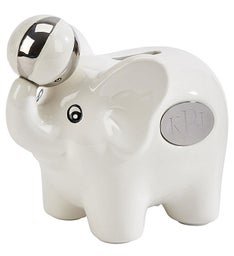 Personalized White Ceramic Elephant Bank