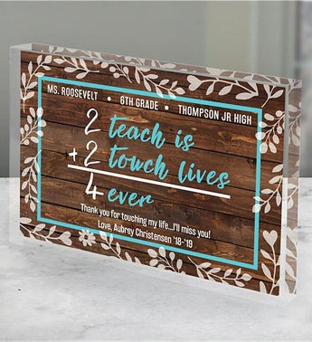 Personalized 2 Teach is 2 Touch Lives  Keepsake