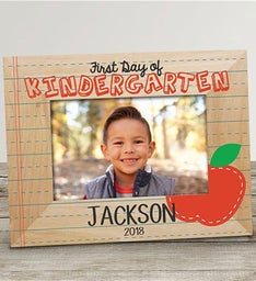 Personalized First Day of School Apple Wood Frame