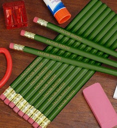 Personalized Green School Pencils
