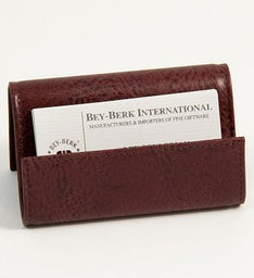 Personalized Tan Leather Business Card Holder