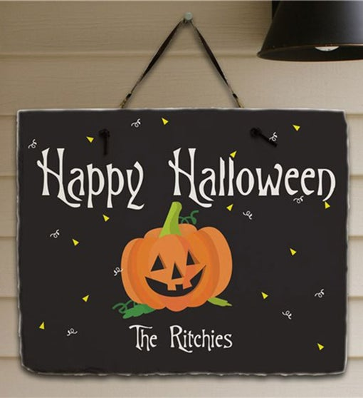 Personalized Happy Halloween Welcome Slate Plaque