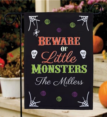 Personalized Beware of Little Monsters Garden Flag