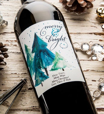 Merry & Bright Personalized Labeled Wine