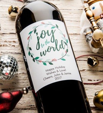 Joy To The World! Personalized Labeled Wine