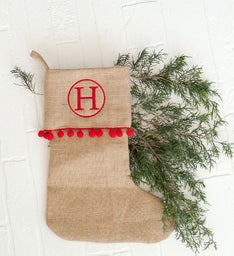 Personalized Red Pom-Pom Stocking