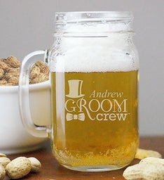 Personalized Engraved Groom Crew Mason Jar