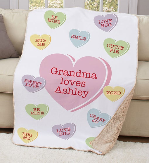 Personalized Conversation Hearts Sherpa Blanket