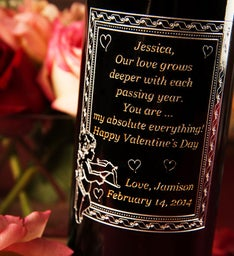 Cupid Frame Personalized Wine Bottle