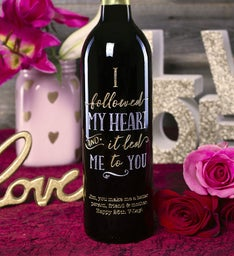 Follow Your Heart Personalized Wine Bottle