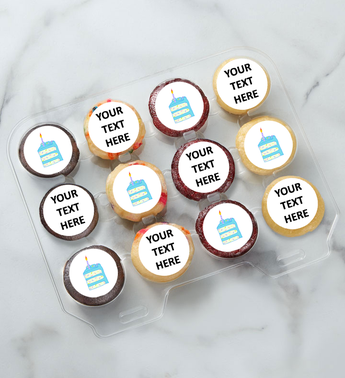 12-24 Mini Personalized Text Birthday Cake Cupcakes