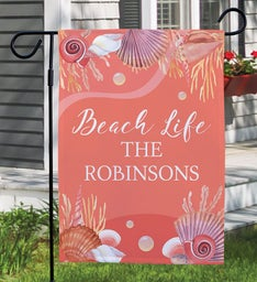 Personalized Beach Life Garden Flag