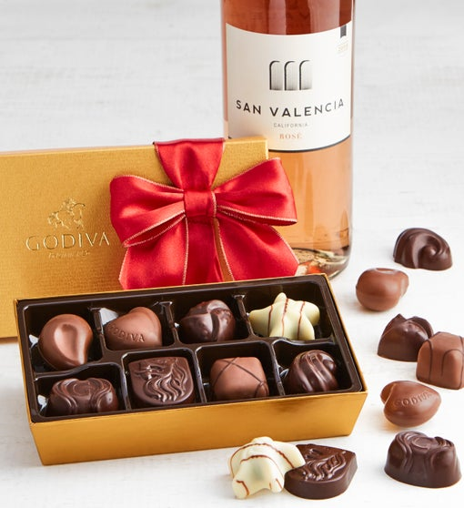 Godiva 8pc Holiday Ballotin with Rosé Wine