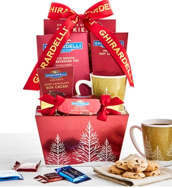 Ghirardelli Holiday Trees Mug & Sweets Basket
