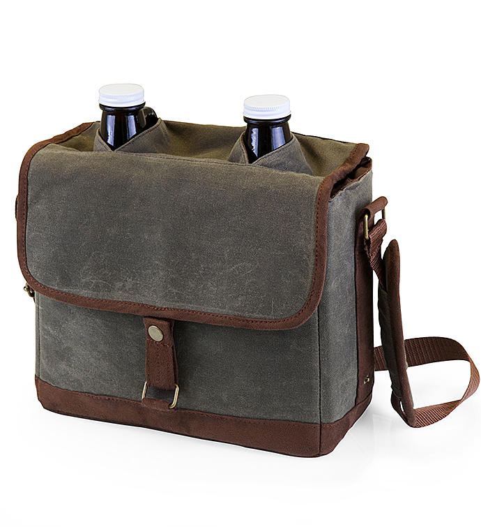 Insulated Double Growler Tote with Glass Growlers