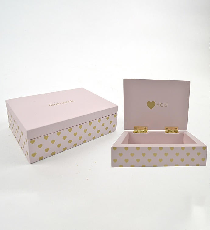Pink  Gold Hearts Secret Box