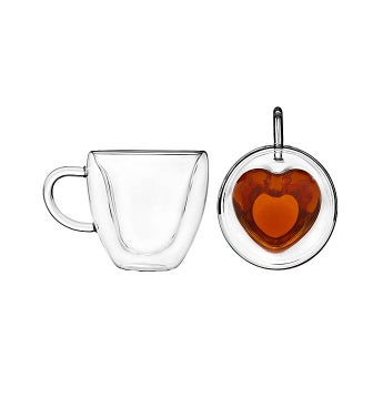Double Wall Glass Heart Mugs