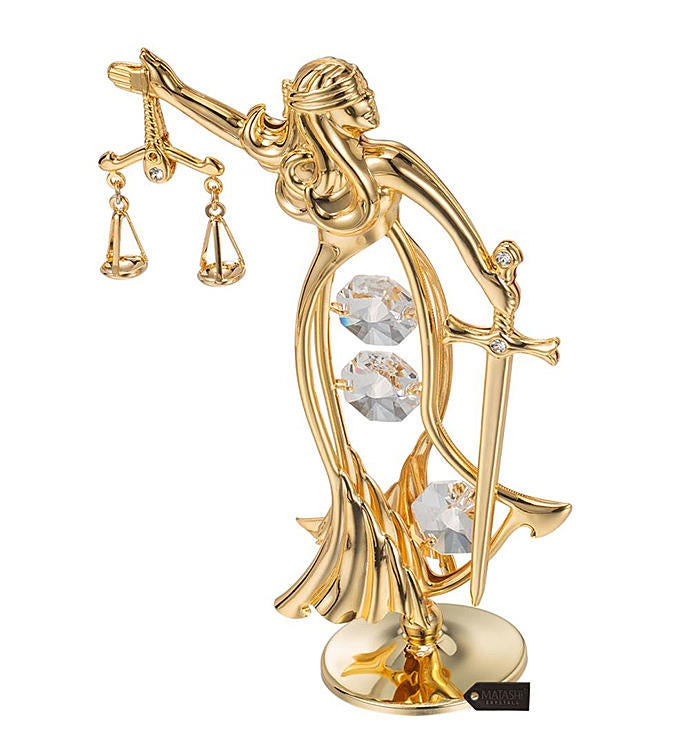 Gold Plated Crystal Studded Lady of Justice