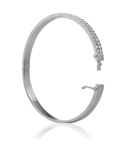 White Gold Plated 2 Row Pave Design Bangle