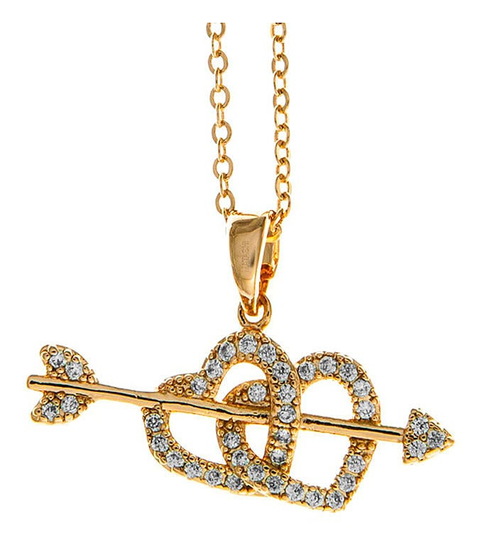 Cupid's Arrow Heart Design Pendant Necklace