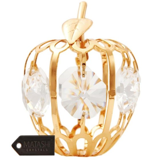 Gold Plated Crystal Mini Apple Ornament