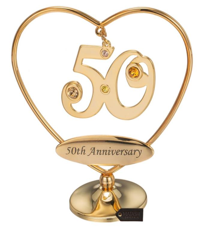 Gold Plated Crystal 50th Anniversary Table Top