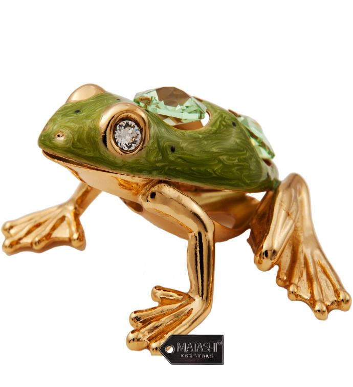 Gold Plated Crystal Frog with Enamel Ornament