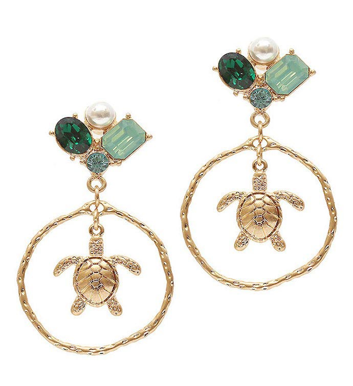 Gold Multi Stone Green Crystal Mix Turtle Earring