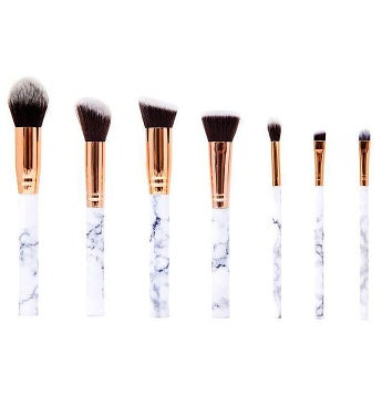 7 Piece Marble Effect Make Up Brush Set with Leather Pouch
